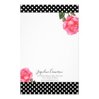 Watercolor Pink Rose Botanical Illustration Stationery