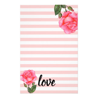 Watercolor Pink Rose Floral Art Stripes Stationery