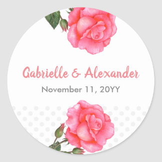 Watercolor Pink Rose Floral Art Wedding Classic Round Sticker