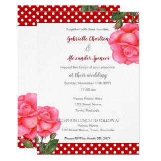Watercolor Pink Rose Floral Art Wedding Invitation