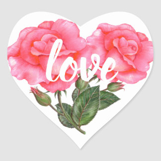 Watercolor Pink Rose Floral Illustration Love Heart Sticker