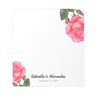 Watercolor Pink Rose Floral Illustration Wedding Notepad