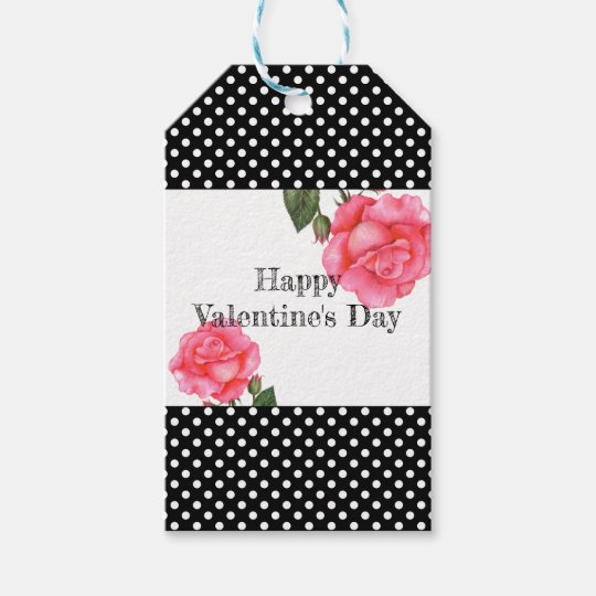 Watercolor Pink Rose Polka Dot Valentines Day Gift Tags