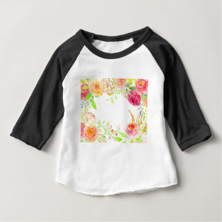 Watercolor pink rose with gold foil frame baby T-Shirt