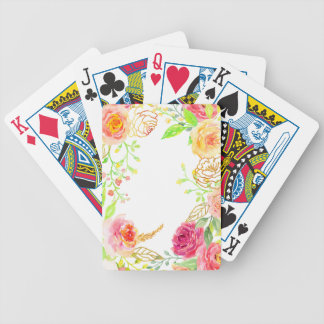 Watercolor pink rose with gold foil frame bicycle playing cards