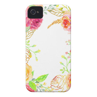 Watercolor pink rose with gold foil frame iPhone 4 cases