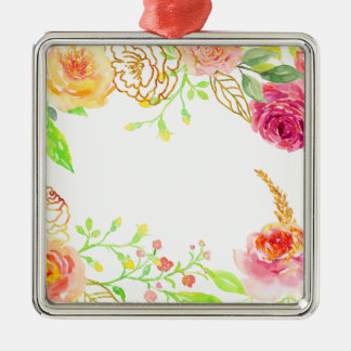 Watercolor pink rose with gold foil frame metal ornament