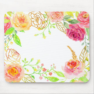 Watercolor pink rose with gold foil frame mouse pad