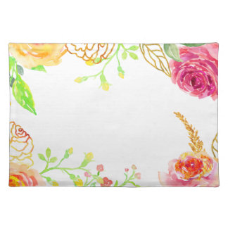 Watercolor pink rose with gold foil frame placemat