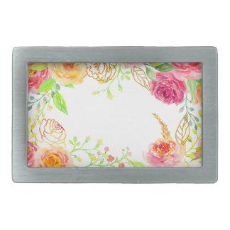Watercolor pink rose with gold foil frame rectangular belt buckles