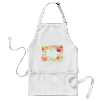 Watercolor pink rose with gold foil frame standard apron