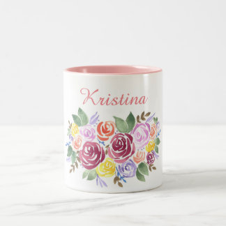 Watercolor Pink Rose Wreath Two-Tone Coffee Mug
