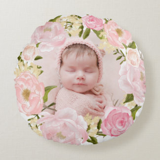 Watercolor Pink Roses and Peonies Wreath Nursery Round Pillow
