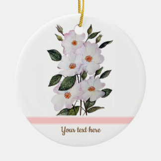 Watercolor Pink Roses 'Ballerina' Floral Art Ceramic Ornament