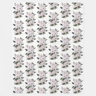 Watercolor Pink Roses 'Ballerina' Floral Art Fleece Blanket