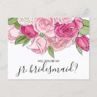 Watercolor Pink Roses Be My Jr Bridesmaid Postcard