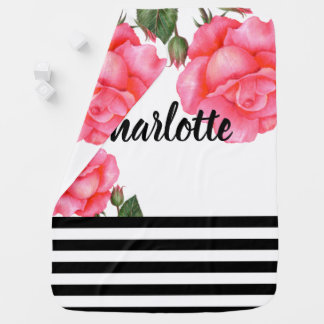 Watercolor Pink Roses Black and White Stripes Baby Blanket