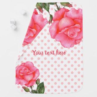 Watercolor Pink Roses Botanical Illustration Baby Blanket