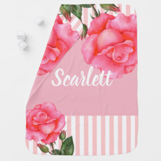 Watercolor Pink Roses Botanical Illustration Baby Blanket