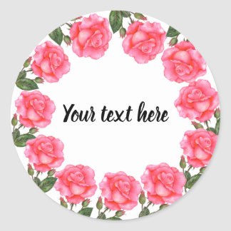 Watercolor Pink Roses Botanical Illustration Classic Round Sticker
