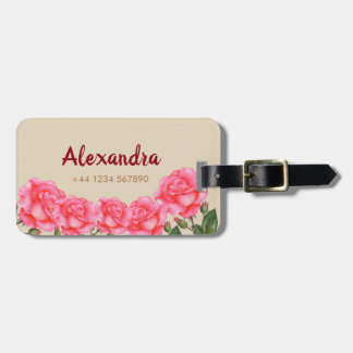 Watercolor Pink Roses Floral Art Illustration Luggage Tag