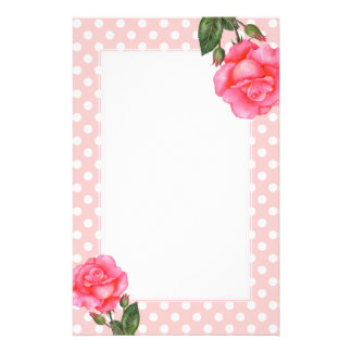 Watercolor Pink Roses Floral Art Polka Dot Stationery
