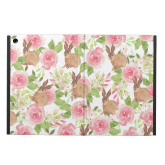 Watercolor pink roses floral brown bunny rabbit iPad air case