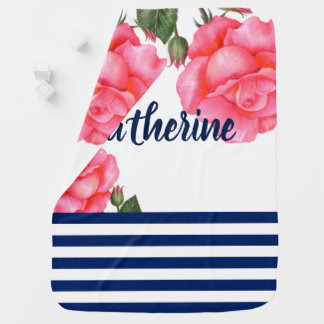 Watercolor Pink Roses Navy Blue White Stripes Baby Blanket
