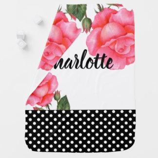 Watercolor Pink Roses Polka Dot Design Baby Blanket