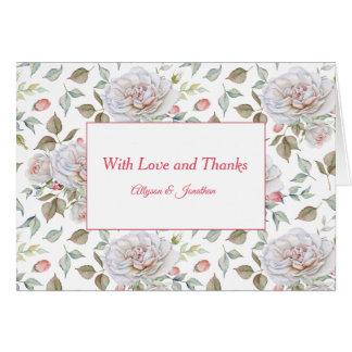 Watercolor Pink Roses Rosebuds Greenery  Thank You Card