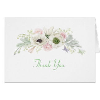 Watercolor Pink Roses White Anemones Thank You Card