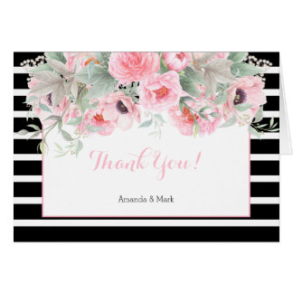 Watercolor Pink Spring Flowers Stripes Thank You Card