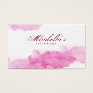 Watercolor Pink Trendy White Minimalist Business Card