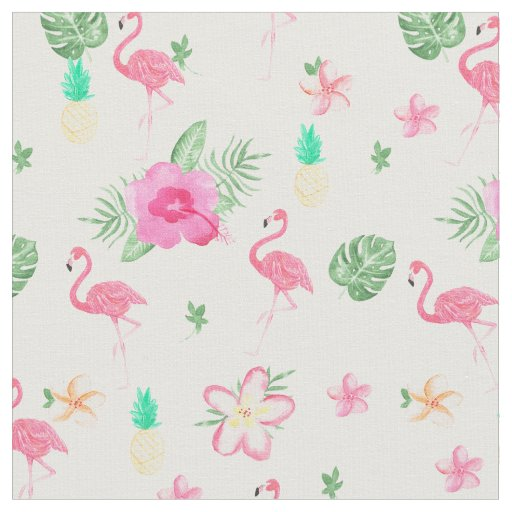 Watercolor pink tropical flamingo summer flowers fabric