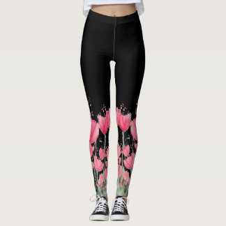 Watercolor Pink Tulip Leggings