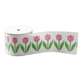 Watercolor Pink Tulips Floral Ribbon Grosgrain Ribbon