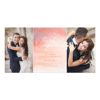 Watercolor Pink Typography Wedding Thank You Personalized Photo Card