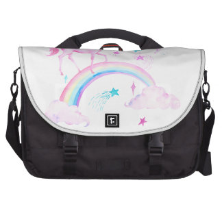 Watercolor Pink Unicorn and Rainbow Commuter Bags