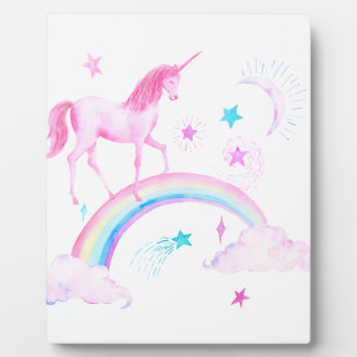 Watercolor Pink Unicorn and Rainbow Plaque