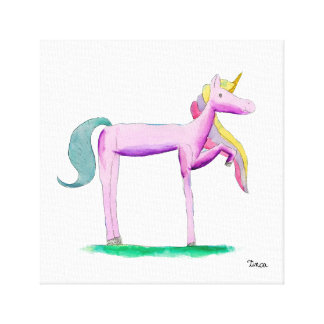 Watercolor Pink Unicorn Pony Canvas Wall Art