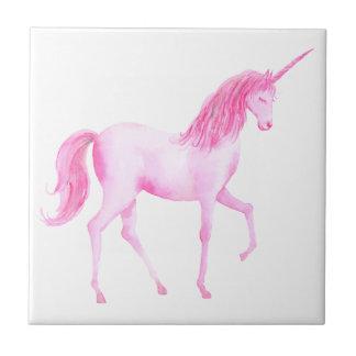 Watercolor pink unicorn tile