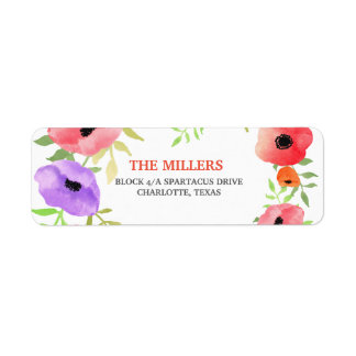 Watercolor Pink Violet Flowers Graduate Whimsical Return Address Label