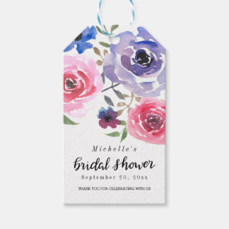 Watercolor Pink Violet Rose | Script Bridal Shower Pack Of Gift Tags