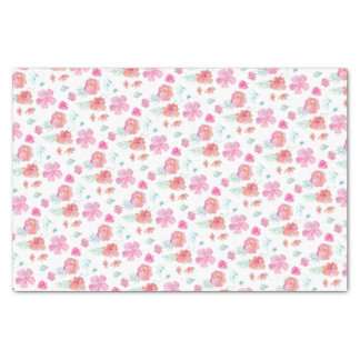 Watercolor Pink Watercolor Flowers Tissue Paper