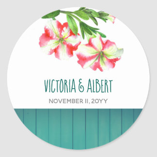 Watercolor Pink White Petunias Floral Art Wedding Classic Round Sticker