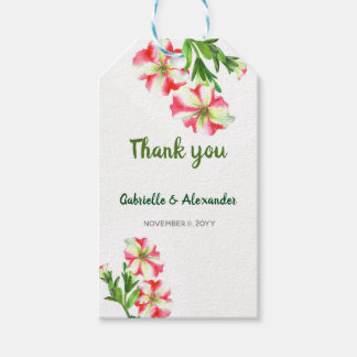 Watercolor Pink White Petunias Floral Art Wedding Gift Tags