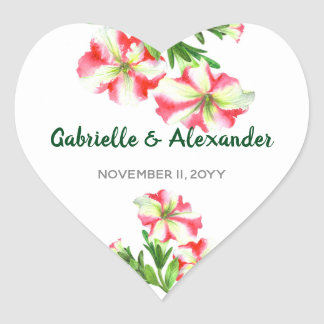Watercolor Pink White Petunias Floral Art Wedding Heart Sticker