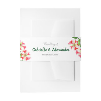 Watercolor Pink White Petunias Floral Art Wedding Invitation Belly Band