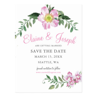 Watercolor Pink Wild Roses Save The Date Cards Postcard