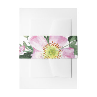 Watercolor Pink Wild Roses Wedding belly band Invitation Belly Band